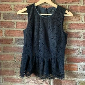 Jcrew lace peplum top xs